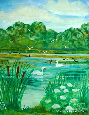 Folkartanna Painting - Landscape With Swans by Anna Folkartanna Maciejewska-Dyba
