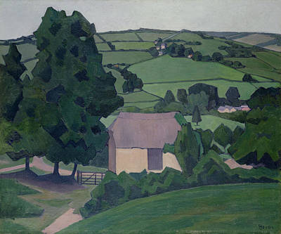 Contemporary Barn Landscape Painting - Landscape With Thatched Barn by Robert Polhill Bevan