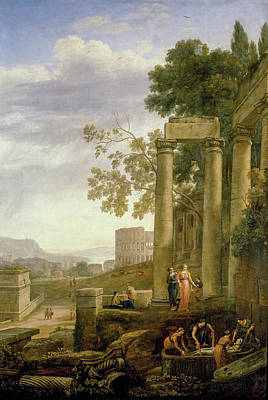 Ruin Painting - Landscape With The Burial Of Saint Serapia by Claude Lorrain