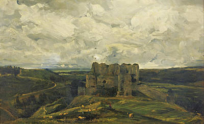 Bataille Painting - Landscape With The Castle Of Arques-la-bataille by Paul Huet