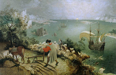 Painting - Landscape With The Fall Of Icarus by Pieter Bruegel the Elder