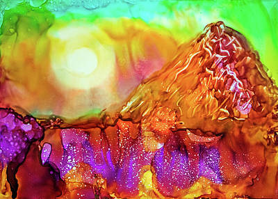 Mixed Media - Landscape With The Mountain by Lilia D