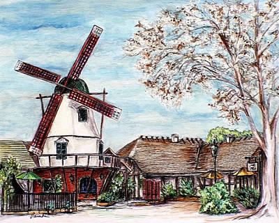 Drawing - Landscape With The Windmill Solvang California by Danuta Bennett