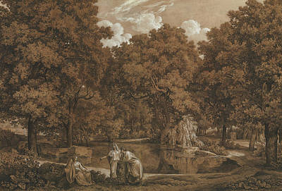 Lake Painting - Landscape With Three Figures At A Lake by Johann Christian