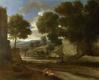 Pathway Painting - Landscape With Travellers Resting by Nicolas Poussin