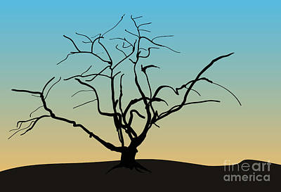 Digital Art - Landscape With Tree by David Gordon