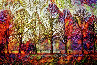 Mixed Media - Landscape With Treea by Lilia D