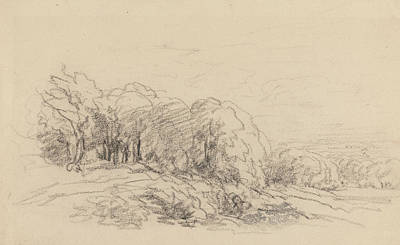 Drawing - Landscape With Trees by David Cox