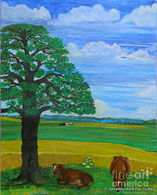 Landscape With Two Cows Art Print by Anna Folkartanna Maciejewska-Dyba