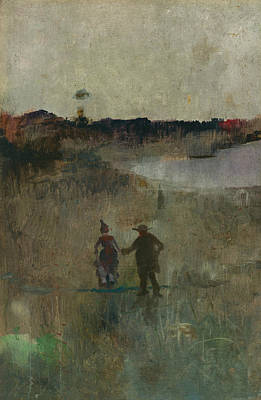 Australian Landscape Painting - Landscape With Two Small Figures by Charles Conder
