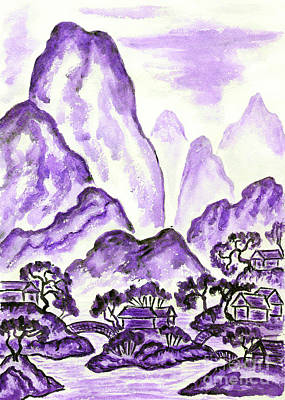 Painting - Landscape With Violet Mountains, Painting by Irina Afonskaya