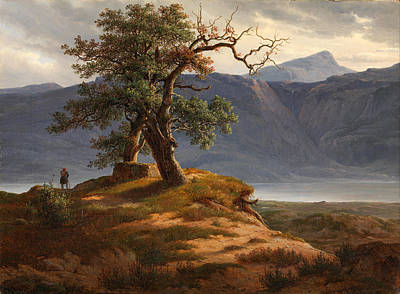 Fearnley Painting - Landscape With Wanderer by Thomas Fearnley