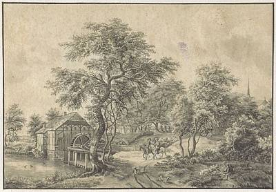 Vermeer Rights Managed Images - Landscape with water mill and two horsemen, Petrus Adrianus Koppius, after Meindert Hobbema, 1823 -  Royalty-Free Image by Meindert Hobbema