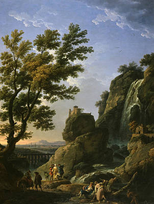 Waterfalls And Trees Landscape Painting - Landscape With Waterfall And Figures by Claude-Joseph Vernet