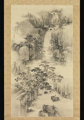 Japanese Painting - Landscape With Waterfall by Eastern Accent