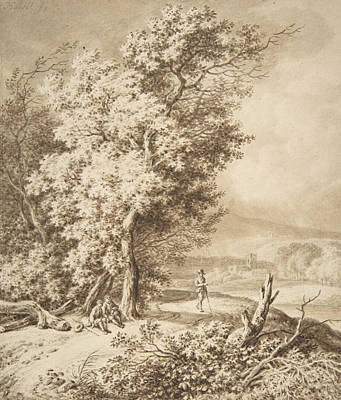 Drawing - Landscape With Wayfarers by Ferdinand Kobell