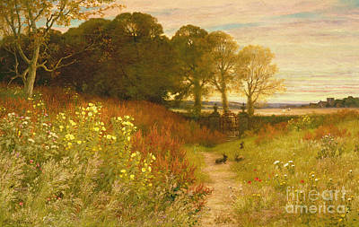 Fence Painting - Landscape With Wild Flowers And Rabbits by Robert Collinson