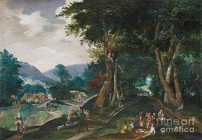 Flemish School Painting - Landscape With Woodcutter by MotionAge Designs