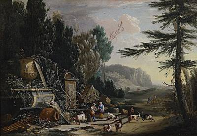 Landscape Painting - Landscapes With Shepherds And Ruins by MotionAge Designs