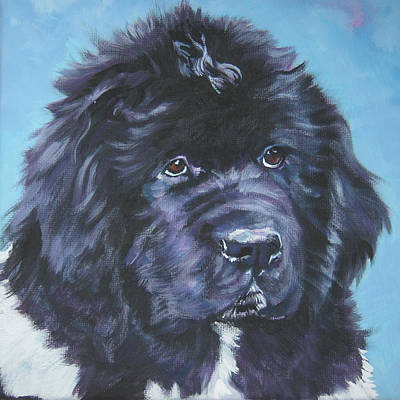 Newfoundland Puppy Painting - Landseer Newfoundland Puppy by Lee Ann Shepard