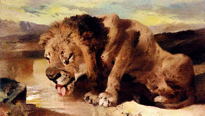 Digital Art - Landseer Sir Edwin Lion Drinking At A Stream by Sir Edwin Henry Landseer