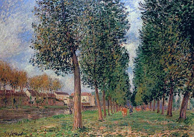 Cloudy Painting - Lane Of Poplars At Moret by MotionAge Designs