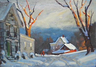 Distant Mountains Painting - Lanes Boro by Len Stomski