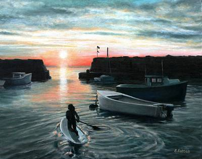 Painting - Lanes Cove Sunset Paddle by Eileen Patten Oliver