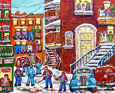 Painting - Laneway Hockey Denty Moore Diner Winter Staircase Montreal Memories Canadian Hockey Art C Spandau    by Carole Spandau