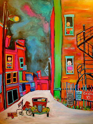 Montreal Spiral Staircases Painting - Laneway Off Rachel by Michael Litvack