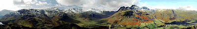 Langdale Valley Panorama From Side Pike Art Print