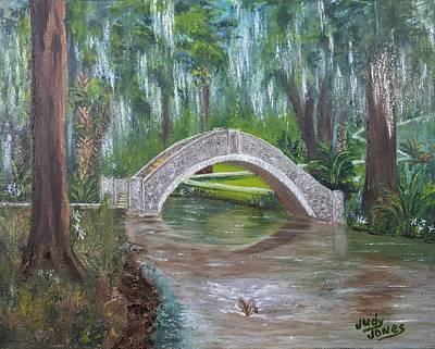New Orleans Oil Painting - Langles Bridge - City Park Bayou Bridge by Judy Jones