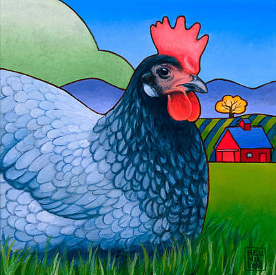 Rooster Wall Art - Painting - Langley The Island Girl by Stacey Neumiller