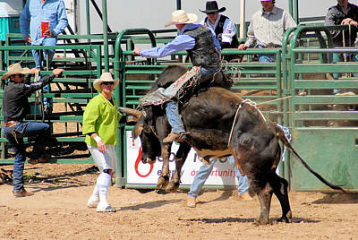 Of Rodeo Bucking Bulls Photograph - Language Between Rider And Clown by Cheryl Poland