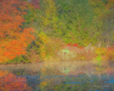 Painting - Langwater Pond Boathouse October 2015 by Bill McEntee