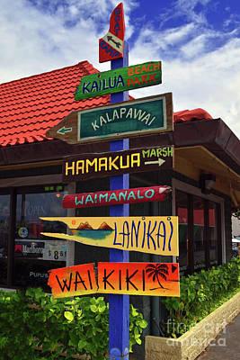 Lanikai Kailua Waikiki Beach Signs Art Print