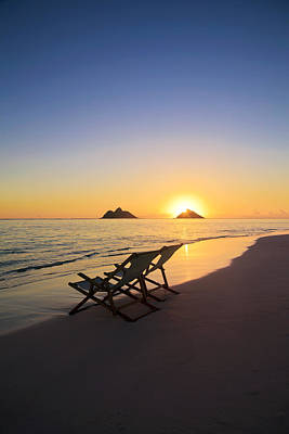 Empty Chairs Photograph - Lanikai Lounging At Sunrise by Tomas del Amo