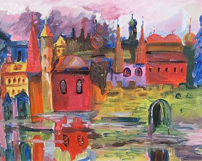 Lanscape With Red Houses Art Print by Rita Fetisov