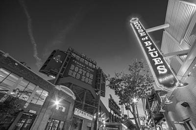Photograph - Lansdowne Street Fenway Park House Of Blues Boston Ma Black And White by Toby McGuire