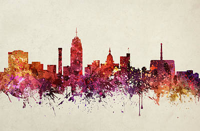 North Drawing - Lansing Cityscape 09 by Aged Pixel