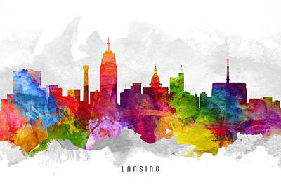 Lansing Michigan Cityscape 13 Art Print by Aged Pixel