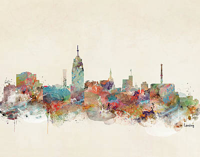 Painting - Lansing Michigan Skyline by Bleu Bri
