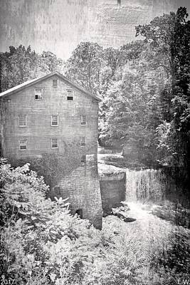 Photograph - Lanterman's Mill In Mill Creek Park Vertical Black And White by Lisa Wooten