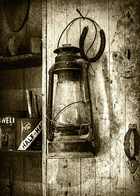 Good Luck Mixed Media - Lantern And Horseshoe - Sepia by Brian Wallace