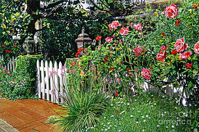 Garden Gates Painting - Lantern Gate by David Lloyd Glover