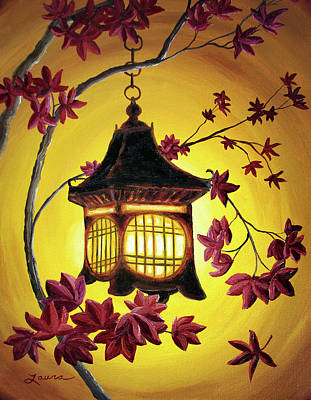 Maple Leaf Art Painting - Lantern In Golden Glow by Laura Iverson