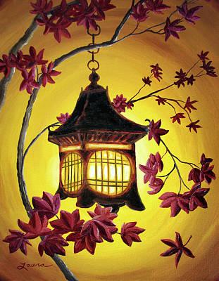 Lantern In Golden Glow Original by Laura Iverson