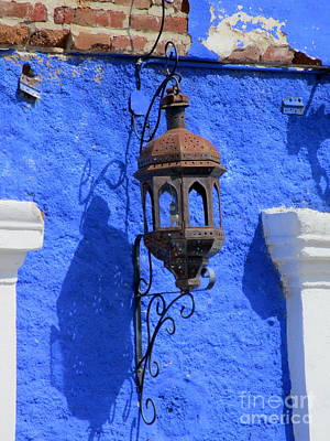 Photograph - Lantern On Blue Wall by Randall Weidner