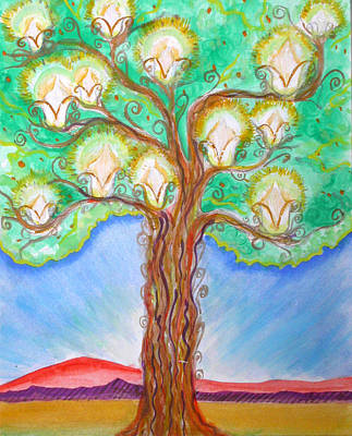 Metaphysical Painting - Lantern Tree by Anne Cameron Cutri