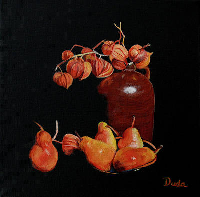 Painting - Lanterns And Pears by Susan Duda